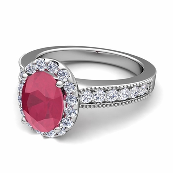 Milgrain Diamond and Ruby Halo Engagement Ring in Platinum, 7x5mm