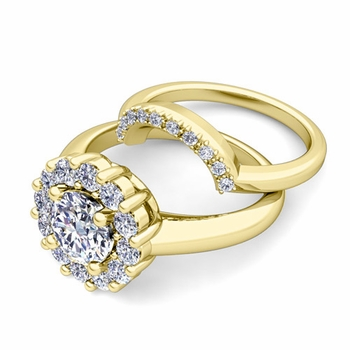 Classic Halo Diamond Engagement Ring Bridal Set in 18k Gold