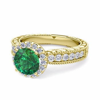 Vintage Inspired Diamond and Emerald Engagement Ring in 18k Gold, 7mm