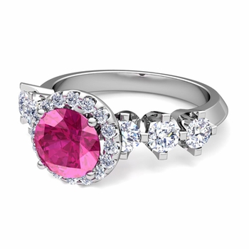 Crown Set Diamond and Pink Sapphire Engagement Ring in Platinum, 7mm