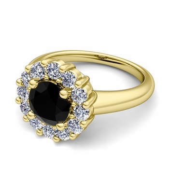 Black and White Diamond Halo Engagement Ring in 18k Gold, 6mm