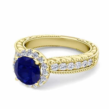 Vintage Inspired Diamond and Sapphire Engagement Ring in 18k Gold, 7mm