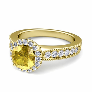 Milgrain Diamond and Yellow Sapphire Halo Engagement Ring in 18k Gold, 7mm