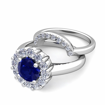 Blue Sapphire and Halo Diamond Engagement Ring Bridal Set in Platinum, 7mm
