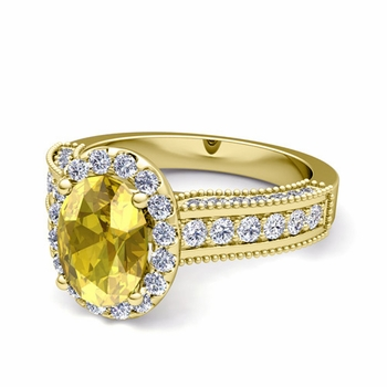 Heirloom Diamond and Yellow Sapphire Engagement Ring in 18k Gold, 7x5mm