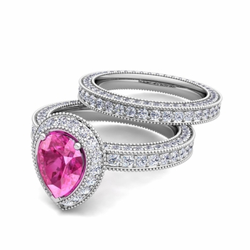 Milgrain Pear Shaped Pink Sapphire Engagement Ring Bridal Set in 14k Gold, 8x6mm