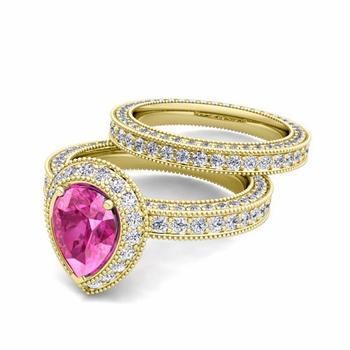 Milgrain Pear Shaped Pink Sapphire Engagement Ring Bridal Set in 18k Gold, 8x6mm