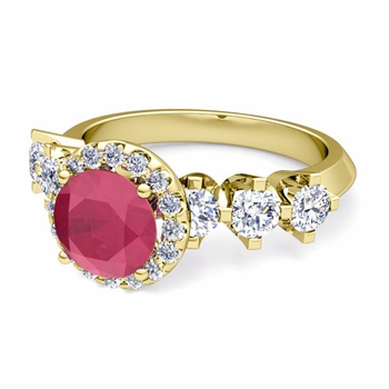 Crown Set Diamond and Ruby Engagement Ring in 18k Gold, 6mm