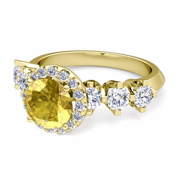 Crown Set Diamond and Yellow Sapphire Engagement Ring in 18k Gold, 6mm