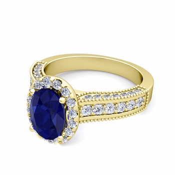 Heirloom Diamond and Sapphire Engagement Ring in 18k Gold, 9x7mm