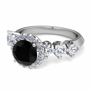 Crown Set Black and White Diamond Engagement Ring in Platinum, 7mm