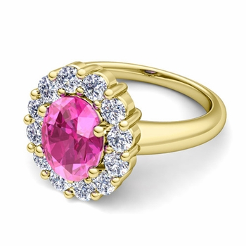 Halo Diamond and Pink Sapphire Diana Ring in 18k Gold, 9x7mm