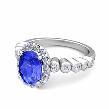 Bezel Set Diamond and Ceylon Sapphire Halo Engagement Ring in 14k Gold, 9x7mm