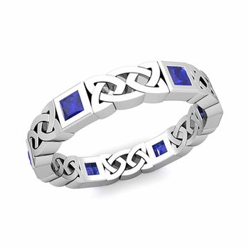 Celtic Wedding Ring in 14k Gold Princess Cut Sapphire Eternity Band, 4.2mm