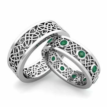 Matching Celtic Heart Knot Wedding Band in Platinum Emerald Wedding Ring