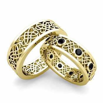 Matching Celtic Heart Knot Wedding Band in 18k Gold Black Diamond Wedding Ring