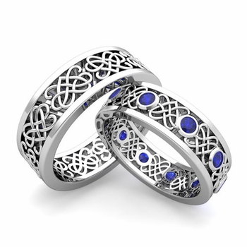Matching Celtic Heart Knot Wedding Band in Platinum Sapphire Wedding Ring