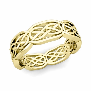 Celtic Knot Wedding Band in 18k Gold Comfort Fit Ring, 6.2mm