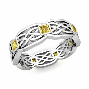 Celtic Knot Wedding Band in Platinum Princess Cut Yellow Sapphire Ring, 6mm