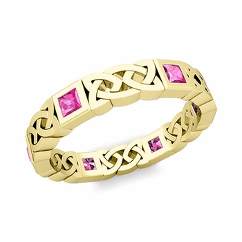 Celtic Wedding Ring in 18k Gold Princess Cut Pink Sapphire Eternity Band, 4.2mm