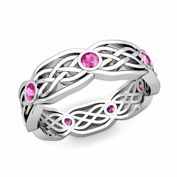 Celtic Knot Wedding Band in 14k Gold Bezel Set Pink Sapphire Ring, 6mm