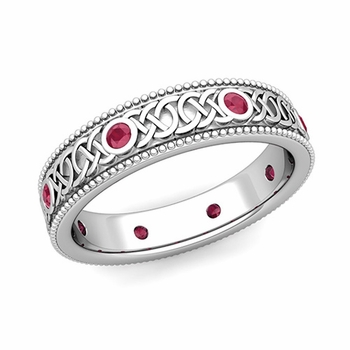 Milgrain Ruby Ring in Platinum Celtic Knot Wedding Band, 5.2mm