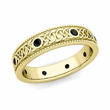 Milgrain Black Diamond Ring in 18k Gold Celtic Knot Wedding Band, 5.2mm