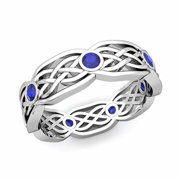 Celtic Knot Wedding Band in 14k Gold Bezel Set Sapphire Wedding Ring, 6mm