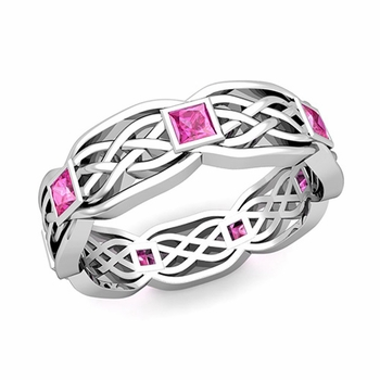 Celtic Knot Wedding Band in Platinum Princess Cut Pink Sapphire Ring, 6mm