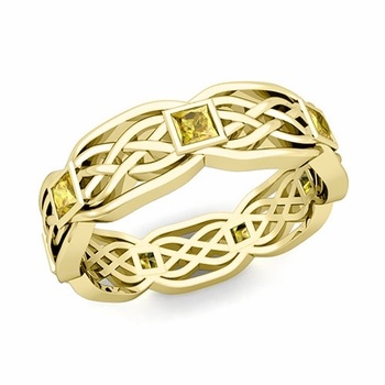Celtic Knot Wedding Band in 18k Gold Princess Cut Yellow Sapphire Ring, 6mm