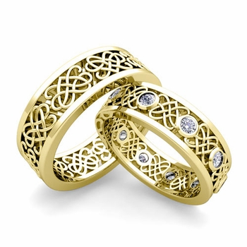 Matching Celtic Heart Knot Wedding Band in 18k Gold Diamond Wedding Ring