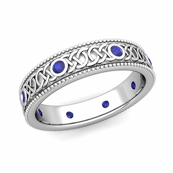Milgrain Sapphire Ring in Platinum Celtic Knot Wedding Band, 5.2mm