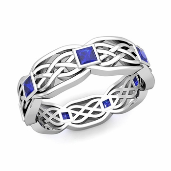 Celtic Knot Wedding Band in 14k Gold Princess Cut Sapphire Wedding Ring, 6mm