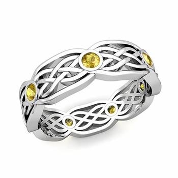 Celtic Knot Wedding Band in Platinum Bezel Set Yellow Sapphire Ring, 6mm