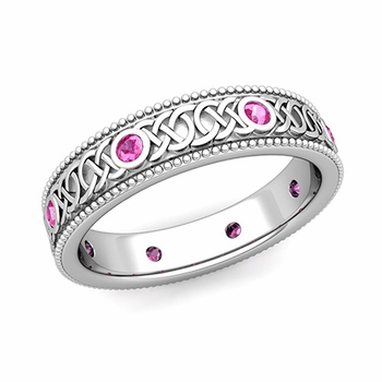 Milgrain Pink Sapphire Ring in Platinum Celtic Knot Wedding Band, 5.2mm