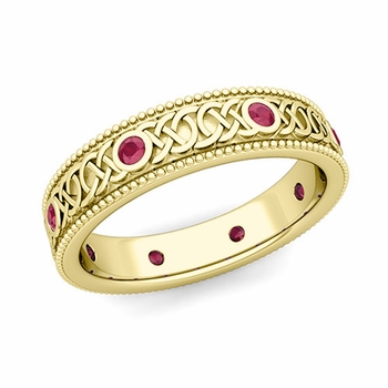 Milgrain Ruby Ring in 18k Gold Celtic Knot Wedding Band, 5.2mm