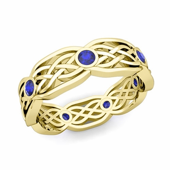 Celtic Knot Wedding Band in 18k Gold Bezel Set Sapphire Wedding Ring, 6mm