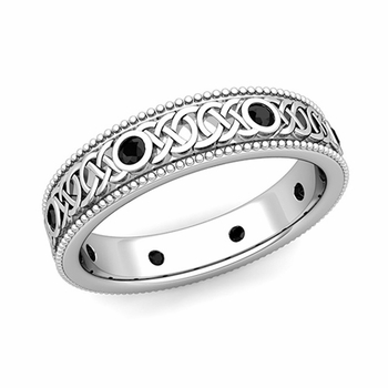 Milgrain Black Diamond Ring in Platinum Celtic Knot Wedding Band, 5.2mm