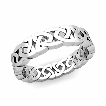 Celtic Knot Wedding Ring in Platinum Comfort Fit Eternity Band, 5mm