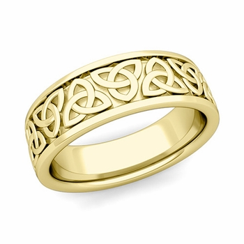 Trinity Celtic Knot Wedding Band in 18k Gold Comfort Fit Ring, 7mm