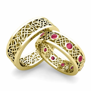 Matching Celtic Heart Knot Wedding Band in 18k Gold Ruby Wedding Ring