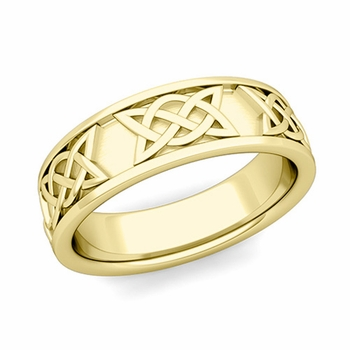 Legacy Celtic Knot Wedding Band in 18k Gold Comfort Fit Ring, 6.5mm