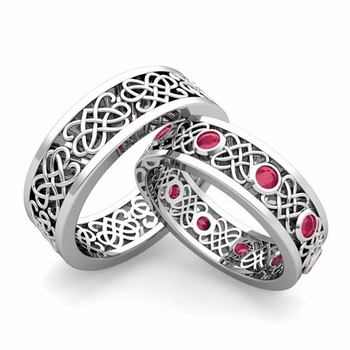 Matching Celtic Heart Knot Wedding Band in Platinum Ruby Wedding Ring
