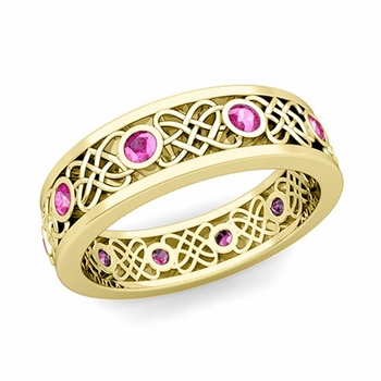 Celtic Heart Knot Wedding Band in 18k Gold Bezel Set Pink Sapphire Ring, 6mm