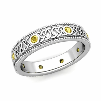 Milgrain Yellow Sapphire Ring in Platinum Celtic Knot Wedding Band, 5.2mm