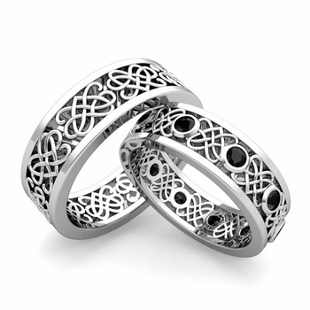 Matching Celtic Heart Knot Wedding Band in Platinum Black Diamond Wedding Ring