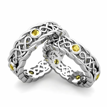 Matching Celtic Knot Wedding Band in 14k Gold Yellow Sapphire Wedding Ring