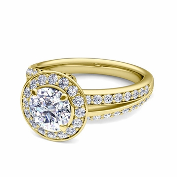 Wave GIA Diamond Halo Engagement Ring in 18k Gold