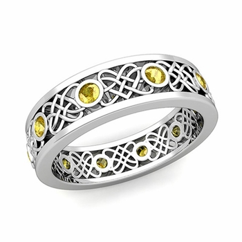 Celtic Heart Knot Wedding Band in Platinum Bezel Set Yellow Sapphire Ring, 6mm