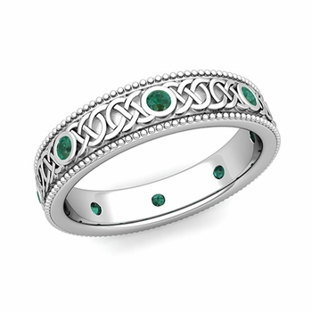 Milgrain Emerald Ring in Platinum Celtic Knot Wedding Band, 5.2mm